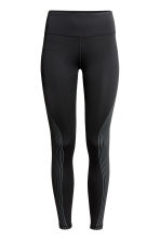 Sports tights - Black/Metallic green - Ladies | H&M 2