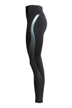 Sports tights - Black/Metallic green - Ladies | H&M 3