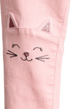 Treggings with embroidery - Light pink/Cat - Kids | H&M 3