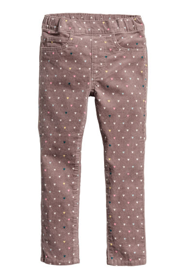 Corduroy treggings - Mole/Patterned - Kids | H&M CN