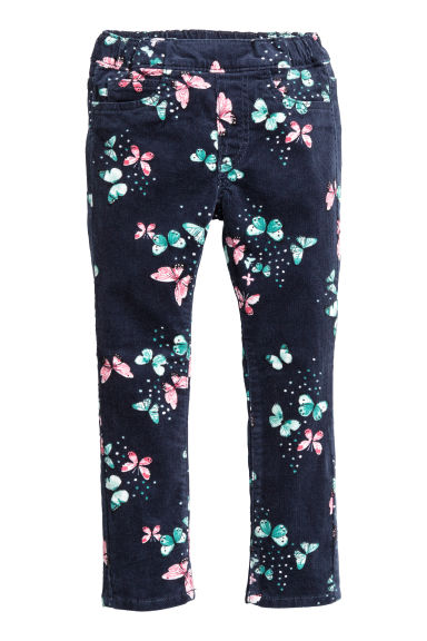 Corduroy treggings - Dark blue/Butterflies - Kids | H&M
