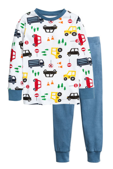 Jersey pyjamas - White/Cars -  | H&M