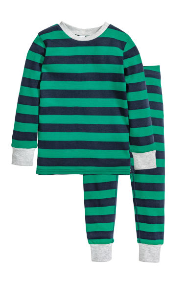 Jersey pyjamas - Green/Striped -  | H&M 1
