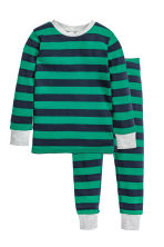 Jersey pyjamas - Green/Striped - Kids | H&M CN 1