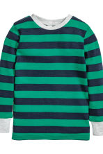 Jersey pyjamas - Green/Striped -  | H&M 3