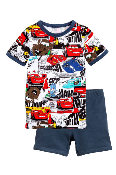 平紋睡衣套裝 - Dark blue/Cars - Kids | H&M 1