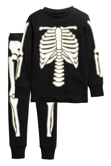 Jersey pyjamas - Black/Skeleton -  | H&M 1