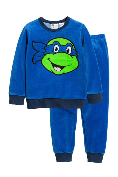 Velour pyjamas - Bright blue/Turtles - Kids | H&M CN