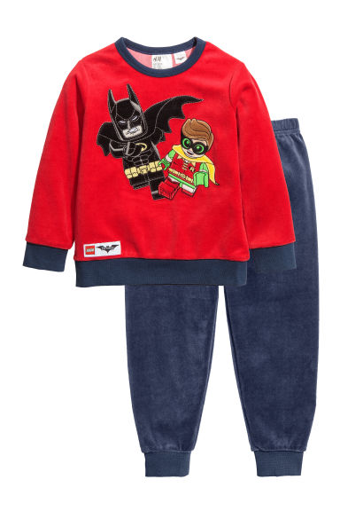 Pyjamas i velour - Röd/Batman - BARN | H&M FI