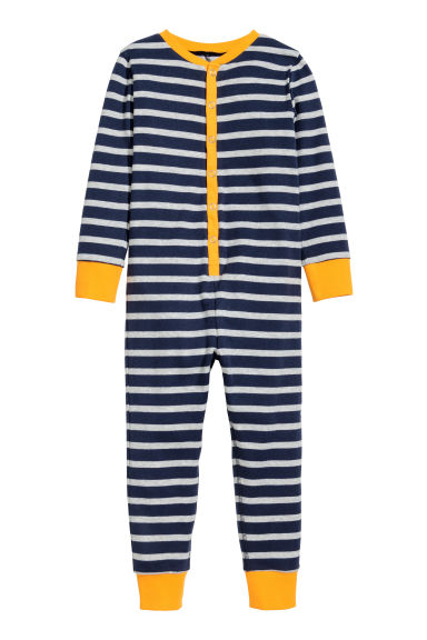 All-in-one pyjamas - Dark blue/Striped -  | H&M 1