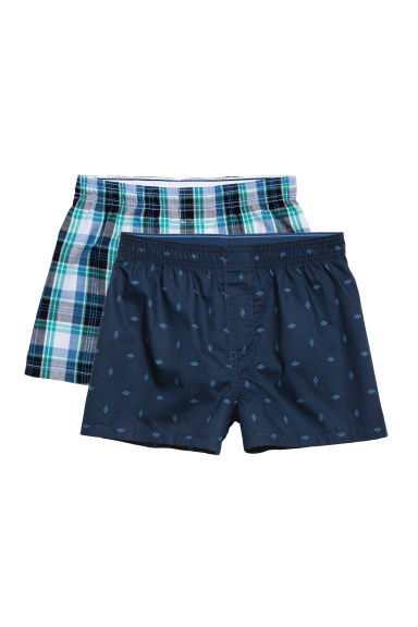 2条装平角短裤 - Green/Checked - Kids | H&M CN 1
