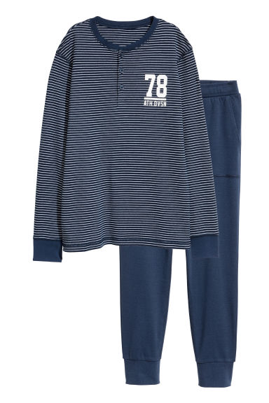 Jersey pyjamas - Dark blue/White striped - Kids | H&M CN