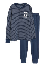 Jersey pyjamas - Dark blue/White striped -  | H&M CN 1