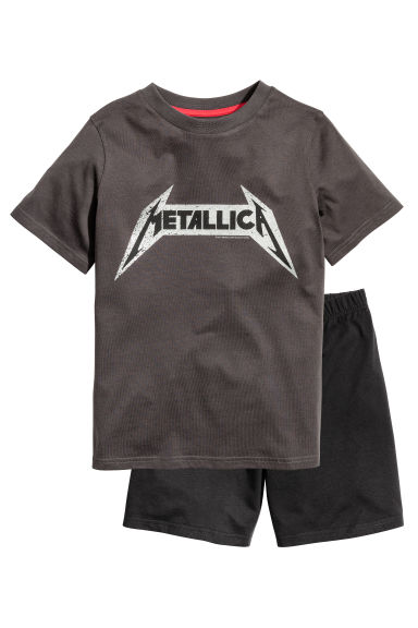 平紋睡衣套裝 - Dark grey/Metallica - Kids | H&M 1