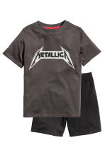 Jersey pyjamas - Dark grey/Metallica - Kids | H&M 1
