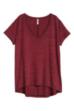 V-neck jersey top - Dark red marl - Ladies | H&M IE 2