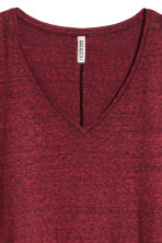 V-neck jersey top - Dark red marl - Ladies | H&M IE 3