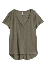 V-neck jersey top - Dark khaki green - Ladies | H&M CN 2