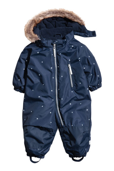 Padded outdoor all-in-one suit - Dark blue -  | H&M 1