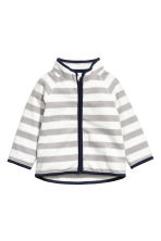 Fleece jacket - Grey/White striped -  | H&M 1