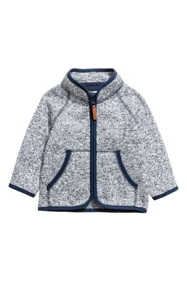 Knitted fleece jacket - Dark blue marl - Kids | H&M 1