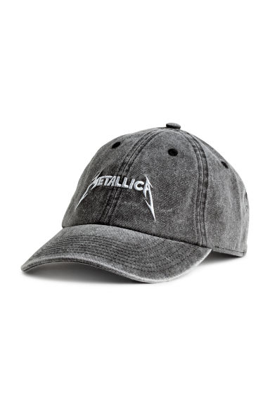 Cap with embroidery - Grey black/Metallica - Men | H&M