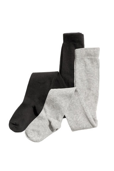 2-pack fine-knit tights - Black/Grey marl - Kids | H&M CN 1