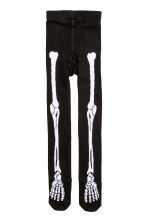 2-pack fine-knit tights - Black/Skeleton -  | H&M CN 2