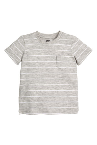 Cotton T-shirt - Grey marl/Striped - Kids | H&M CN 1