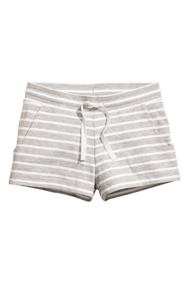 柔軟平紋短褲 - Light grey/Striped -  | H&M 1