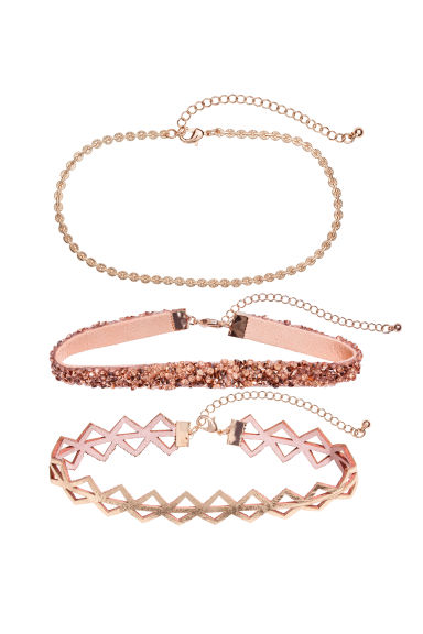 3-pack chokers - Powder pink/Gold-coloured - Ladies | H&M 1