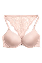 Lace-back super push-up bra - Powder pink - Ladies | H&M 2