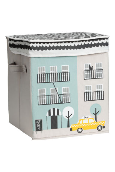 Storage box with lid - Light grey/House - Home All | H&M CN 1