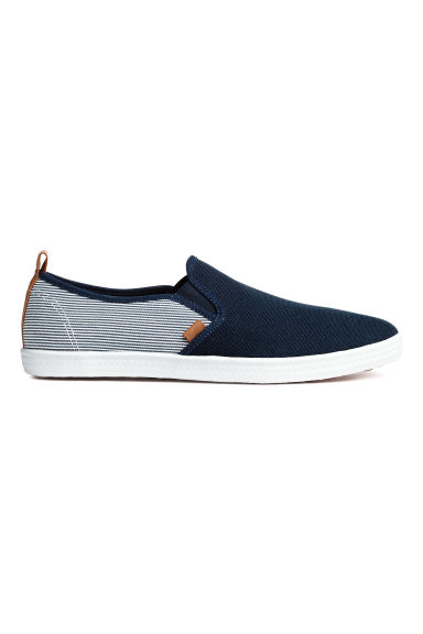 Slip-on trainers - Dark blue/Striped - Men | H&M CN