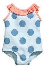 Swimsuit with frills - Light blue/Spotted - Kids | H&M 1