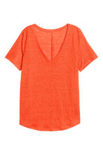 Linen V-neck top - Orange - Ladies | H&M CN 2