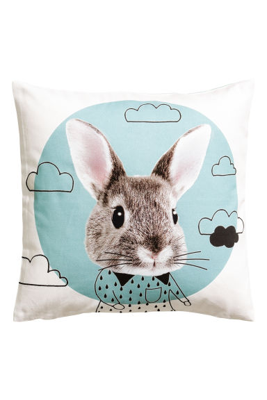 Cushion cover with print motif - Turquoise/Rabbit - Home All | H&M CA