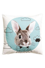 Cushion cover with print motif - Turquoise/Rabbit - Home All | H&M CN 1