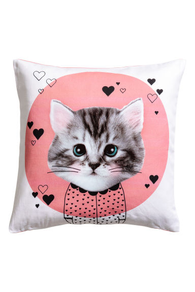 Cushion cover with print motif - Pink/Cat - Home All | H&M IE 1