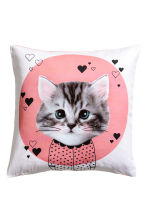 Cushion cover with print motif - Pink/Cat - Home All | H&M CN 1