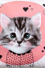 Cushion cover with print motif - Pink/Cat - Home All | H&M CN 3