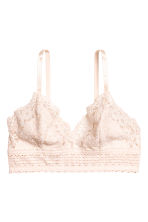 Non-wired lace triangle bra - Light beige - Ladies | H&M 2