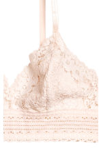Non-wired lace triangle bra - Light beige - Ladies | H&M 3