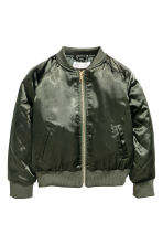 Satin bomber jacket - Khaki green -  | H&M 2