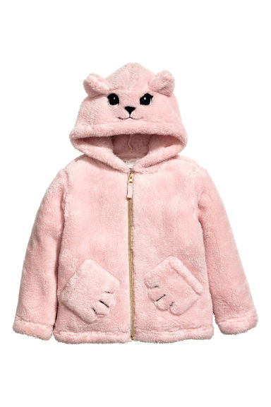 Pile jacket with a hood - Light pink -  | H&M CN 1