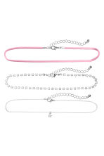 3-pack chokers - Light pink/Silver - Ladies | H&M CN 1