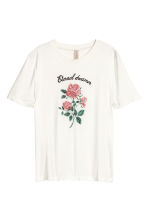 Jersey top with embroidery - Off-white/rose - Ladies | H&M CA 2