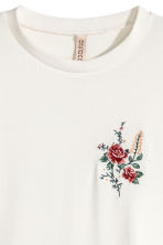 Jersey top with embroidery - Natural white - Ladies | H&M 3