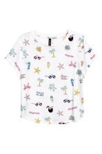 T-shirt in jersey con stampa - Bianco/palme - DONNA | H&M IT 2