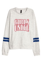 Printed sweatshirt - Light grey marl - Ladies | H&M 2